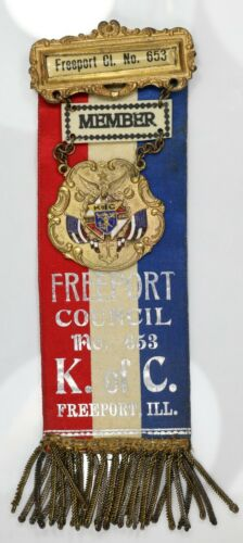 Vintage Knights Of Columbus Jeweled Ribbon. Freeport IL. MR107