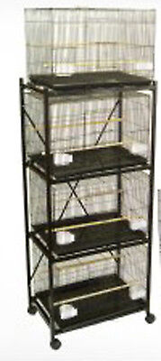 New Large Lot of 4 Bird Breeder Breeding Bird Cages 30x18x18'H With Stand 150