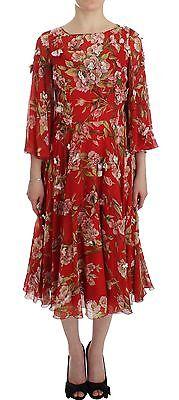 Dolce & Gabbana Vestido Rojo Estampado Floral Seda Maxi Runway IT42/ US8/ M
