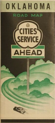 1938 Cities Service Road Map: Oklahoma NOS