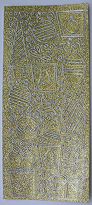 SPARKLE / GLITTER XMAS BAUBLES GOLD PEEL OFF STICKERS CARDMAKING SCRAPBOOKING - Gold Glitter Scrapbooking