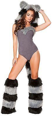 Roma Costume 4719 Furry Raccoon Sexy Adult Halloween Costumes Complete - Complete Halloween Costumes