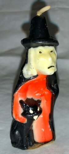 VINTAGE GURLEY UNUSED HALLOWEEN CANDLE - SCARY WITCH PETTING BLACK CAT