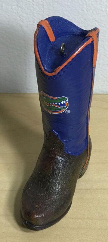UF University Of FLoria Gators Blue & Orange Cowboy Boot Christmas Ornament