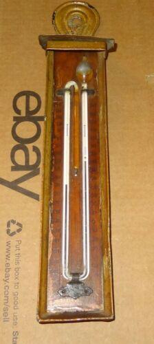 Antique Tin & Wood Heat Cold Thermometer Maximum Minimum Self Registering