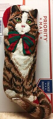Festive Brown Tabby Cat Handmade Needlepoint Christmas Stocking (Purr Fect Cat Stocking)