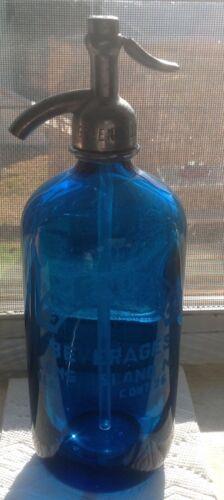 Vintage Cobalt Blue Seltzer Bottle GREENWOOD