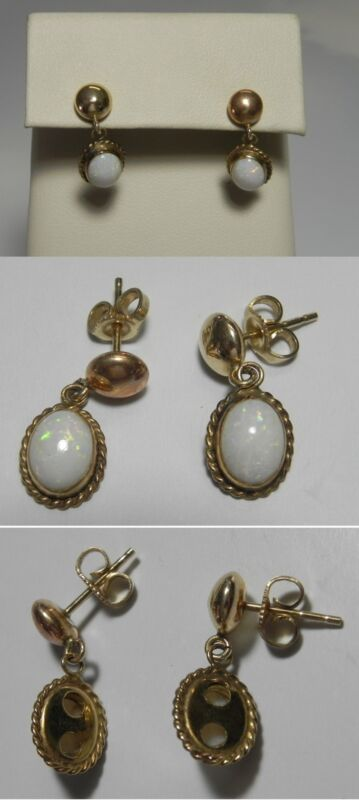 """C1188 Vintage 14K Solid Yellow Gold 3/4"""" White Opal Dangle Post Earrings"""