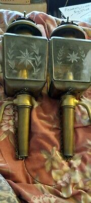 Pair Of Early 20th Century Oil Carriage Lanterns Lights Brass Bevel Glass.