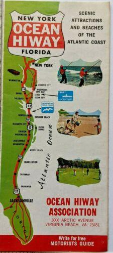 1970s New York Florida Ocean Hiway Tourist Brochure Map Cape May Virginia Beach
