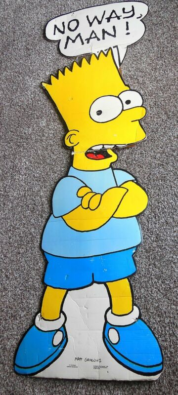 "Vintage 1990 BART SIMPSON Huge Store Display Standee 67"" X 22"" THE SIMPSONS"