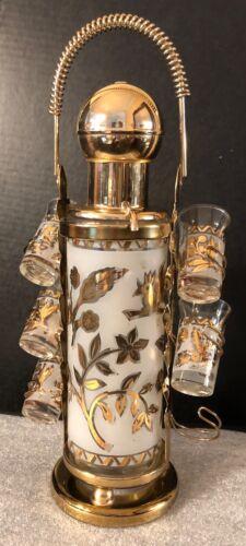 VINTAGE MID CENTURY GOLD LEAF PUMP DECANTER WITH 5 SHOT GLASSES & CADDY SET