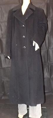 ULLA POPKEN 44 schwarz eleganter langer Mantel Wollmantel Jacke 100% Schurwolle Langer Schwarzer Wollmantel