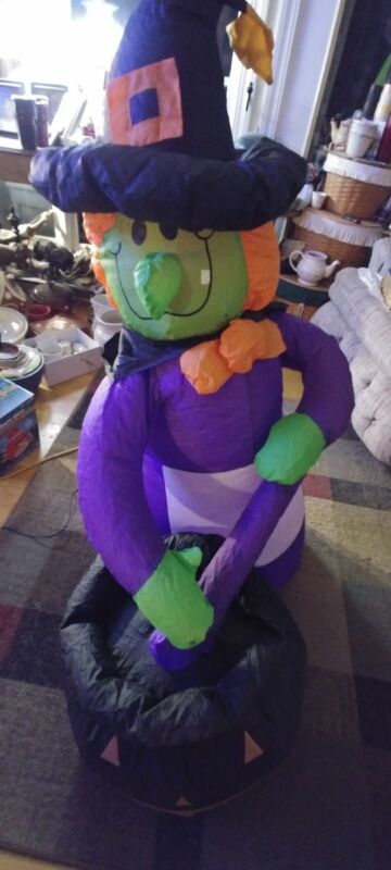 Halloween Witch Air Blown Inflatable Electric Light 4 Foot