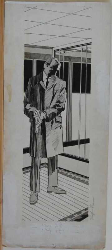 RALPH REESE original art, Man is Suit, Putting on Glove, 8x18,more art in store