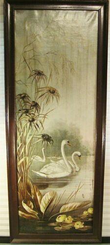 Antique Landscape Painting Swans In A River