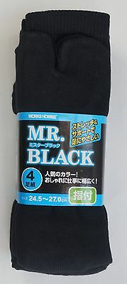 "4 Pairs of Tabi Socks "" M. Black ""   ( 24,5 ~ 27 cm. / UK 5,5 ~ 8 )"