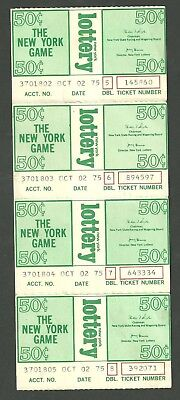 Strip Of 4 The New York Game Lottery Tickets From October 2Nd 1975