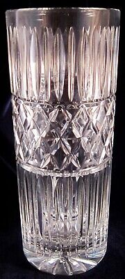 Crystal Cylinder Vase - 10 Inches Tall - Criss Cross and Olive