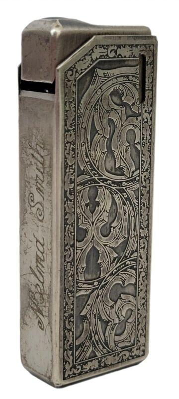 Vtg Colibri Silver Tone Ornate Filigree Etched Butane Pocket Cigarette Lighter
