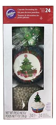 1X Wilton Christmas Tree Cupcake Decorating Kits -24 Cupcakes Total Holiday