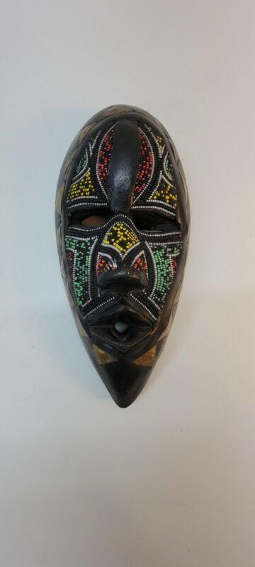 Vtg Carved Kenya Africa Seed Bead Brass & Wood Tribal Face Mask Wall Art Artisan