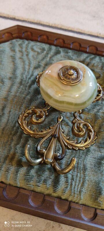 Antique Coat Hangers Wooden Velvet Onyx And Brass Hooks Vintage