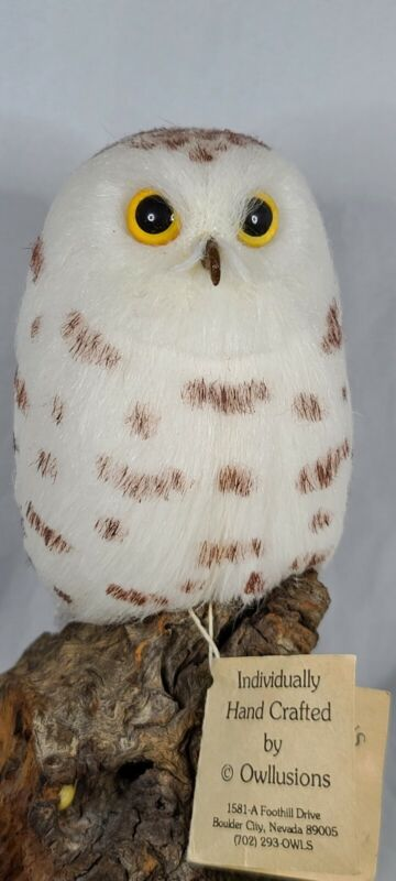 Owllusions Snowy Owl Figurine Hand Crafted On Wood Burl Vintage 6.5""