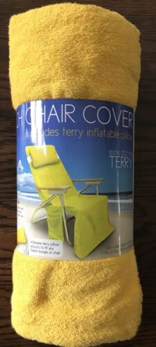 Beach Chair Lounge Bahama Yellow Tote Cover Towel Terry Pill