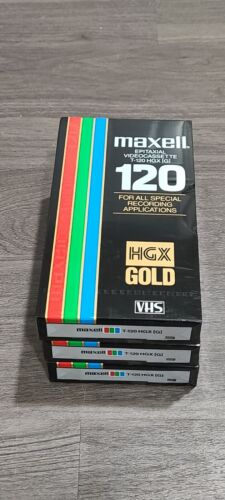 3 Maxell Video Cassettes HGX-Gold Epitaxial High Grade 6 Hour T-120 Blank Tape