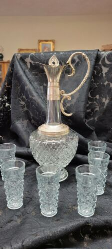 Vintage Glass and Silverplate Italian made Carafe & Glasses