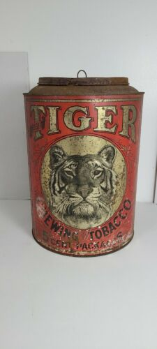 Antique Tiger Chewing Tobacco 5 Cent Packages Large Canister!