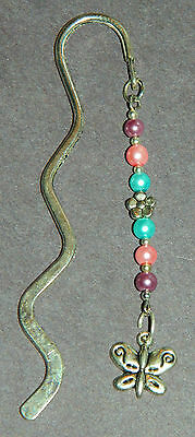 Handmade Glass Pearl Silver Butterfly Metal Bookmark NEW U Pick Colors ()