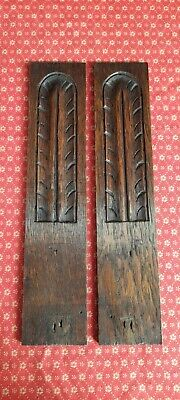 PAIR OF ANTIQUE FRENCH OAK DECORATIVE CARVINGS / EMBELLISHMENTS - C1900