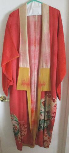Beautiful Antique Light Rose Red Silk Japanese Kimono and Sash