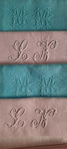 WOW 4 XL Vintage French linen Damask Napkins Monogramed pink turquoise upcycling