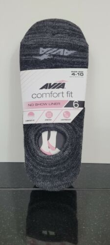 Avia Comfort Fit No Show Liner- Black/ Grey Size 4-10