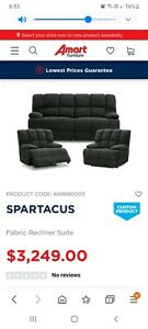 Spartacus Fabric Recliner Suite - Professionally cleaned