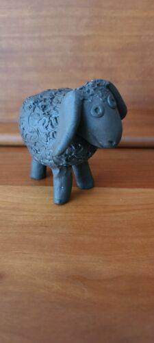 """Sweet """"Black"""" Woolly Sheep - Heavy Clay Pottery Figurine Statue"""