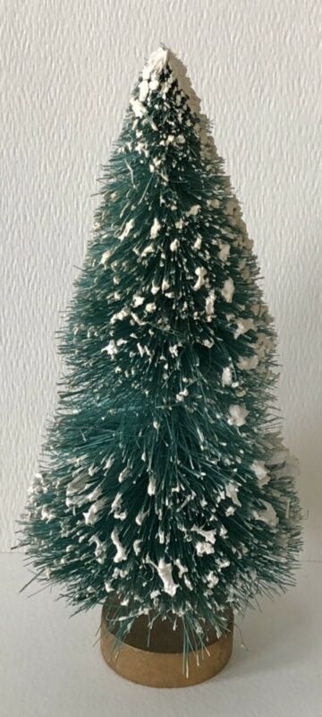 "Antique German Putz Bottle Brush Snow Flocked Gold Wd Base 7"" Christmas Tree #5"