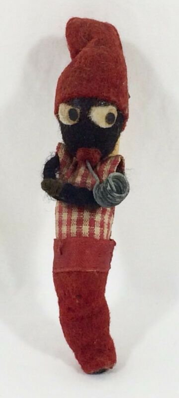 "Antique Christmas Black Red Spun Cotton 4"" Man Vtg Ornament"