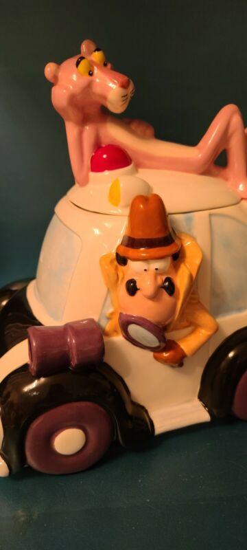 Rare Pink Panther Cookie Jar Canister Cluseau Cop Car Treasure Craft Christmas