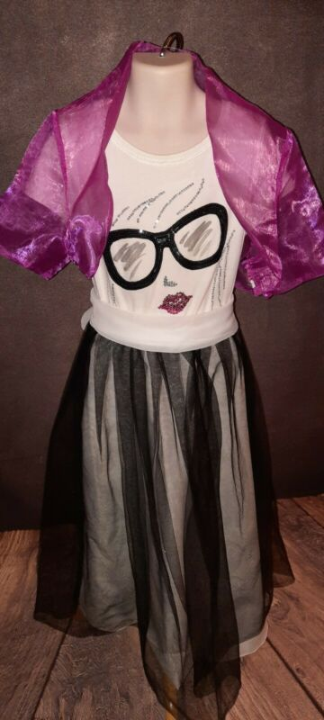 """Sz 5/6 """"Geeked Glasses"""" Party Dress Handmade, Upcycled, 3 Accessories"""