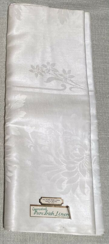 Vintage Irish Pure Linen Double Damask Tablecloth Made In Ireland Original Tags