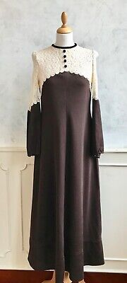 Vintage Edwardian Victorian 1960s 1970s Brown Lace Ditsy Prairie Maxi Dress S
