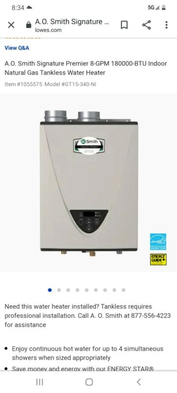 ao smith electric tankless water heater