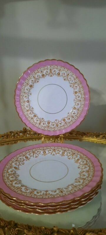 5 aynsley luncheon plate gold and pink bone china