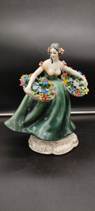 Vintage Italy Florist Women Porcelain Figurine Lady Flower Basket by cacciapotti