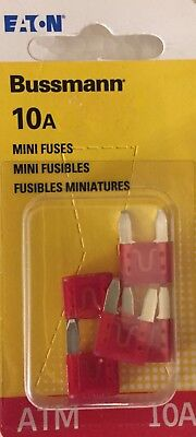 New Fuse Atm-mini Red10a Cd5 Bussmann Electrical Bpatm-10-rp Pkg Of 5