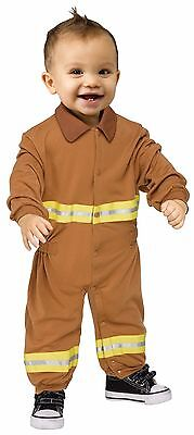 Boys Realistic Fireman Costume Fire Fighter Man Infant Toddler 12-24 Months NEW
